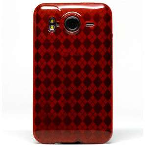 Red Argyle TPU Candy Skin Case Cover HTC Inspire 4G NEW