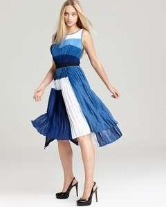BCBG MAX AZRIA Color Block Dress   Rosa Pleated Sunburst BLUE DEPTH