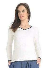 Liz Claiborne New York Texture Stripe V Neck Sweater CRM 2X
