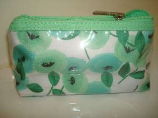 Clinique*Teal/White/Flower Plastic Mini Cosmetic Bag*