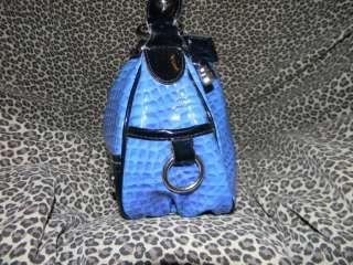 KATHY VAN ZEELAND BLUE BLACK STUDDED SHOULDER BAG PURSE PATENT FAUX
