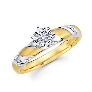 14k Yellow Gold Diamond Engagement Wedding Two Ring Set