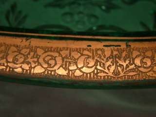 Gold Encrusted Rambler Rose Green Antique Glass Celery / Fish Tray