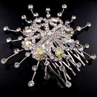 clear Austrian rhinestone flower hair comb bridal