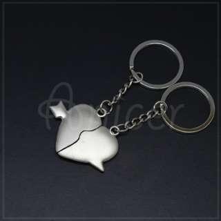 Cute Love Heart Shape Metal lovers Couple Keychain Gift
