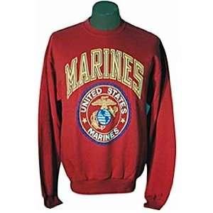 Marine Corp Red Gold Logo Sweat Shirt   XXXLarge