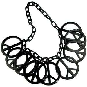 Necklace, 9 Peace Signs, Cosmogirl In Black Cora Hysinger Jewelry