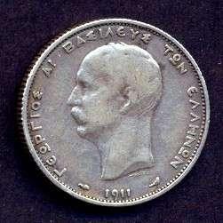 GREECE SILVER COIN,1911 YEAR,XF,CV$75