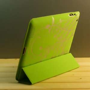Green / Flowers Design PU Leather Flip Stand Case / Cover
