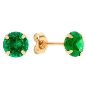 Emerald Green Cubic Zirconia Birthstone 14k Yellow Gold