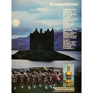 1967 Ad Seagram 100 Pipers Scotch Whisky Bagpipe Castle
