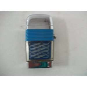 Scripto VU Lighter Cigarette Lighter Blue Base Silver