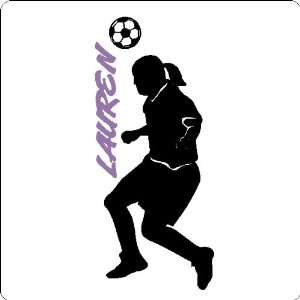 Personalized Soccer Girl Wall Decal Sticker Removable Wall Art Design