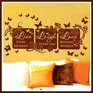 Vinyl Wall Decor Mural Quote Decal LIVE LAUGH LOVE #64