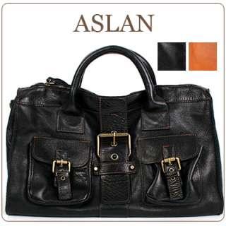 Genuine leather *ASLAN* Satchel shoulder bag+long strap