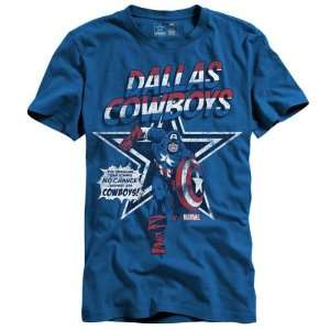 Dallas Cowboys Royal Marvel Comics Captain America Star T