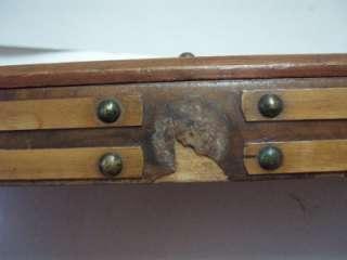 Antique Victorian Beadwork Glass Tray OxBone Studded Bead Work c1860