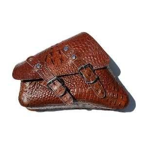 Sportster Brown Alligator Design Leather Saddle Bag