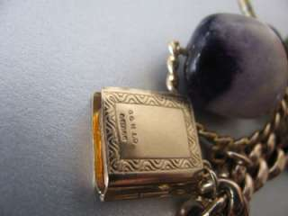 Vintage 9CT Rose Gold Albert Charm Bracelet 10 Charms Blue John
