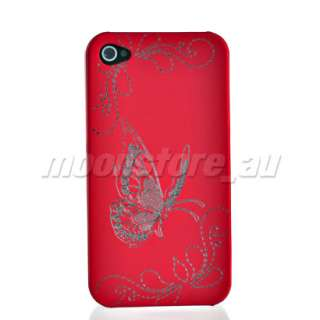 NEW BUTTERFLY STYLE HARD RUBBER COATING CASE COVER FOR APPLE IPHONE 4