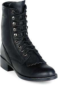 Durango leather western lace up cowboy boots BLACK
