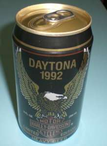 1992 DAYTONA HARLEY DAVIDSON FULL UNOPENED BEER CAN