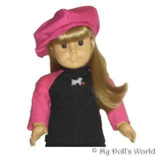CAT SHIRT FIT AMERICAN GIRL DOLL JET BLACK~BRIGHT PINK