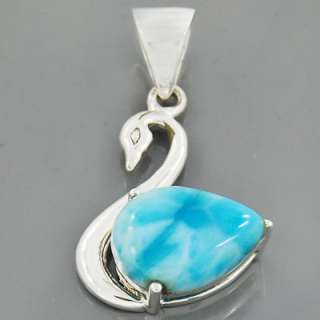 Lovely Duck AAA Dominican Larimar Gemstone 925 Sterling Silver Pendant