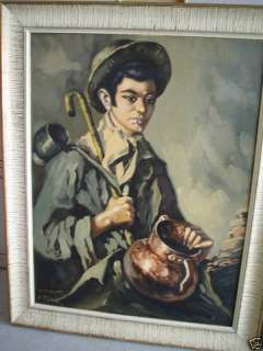 BIG Vintage 1910s J ROS SIGNED Painting Man Portrait |