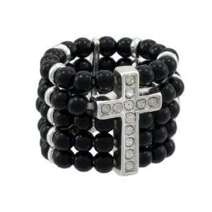 Rhinestone Cross Black Beaded Stretch Ring Chrome Accents Jewelry