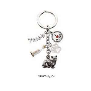 Tabby Cat Standing   5 Charms Keychain   Gift for Cat