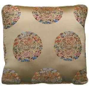 Chinese Silk Pillow   Longevity, Gold (#37) Home