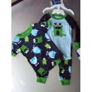 Carters Boys 3 piece 100% Cotton Pajama Set, Blue/Green