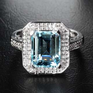 Cut VS Aquamarine 14K White gold Diamond Halo Engagement ring 7