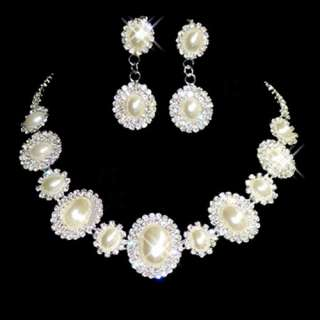 Bridesmaid Bridal Set clear rhinestone imitate pearl necklace earrings