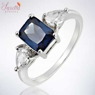 30% OFF Fashion Jewelry Blue Sapphire White Gold GP Ring Jewellery NR