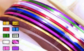 10 Color Rolls Striping Strips Tape Line Nail Art Decoration Sticker