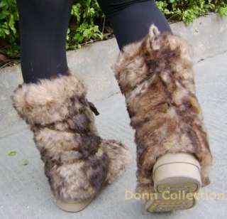 LONG FUR FURRY YETI BOOTS SHOES BROWN VINTAGE WARM WINTER SNOW