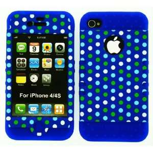 new iphone 4 4 s blue polka dots in blue silicone case