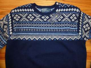 New Ralph Lauren Polo Wool Siver Button Ski Nordic Sweater L