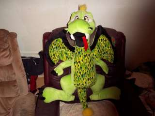 Huge Plush Dragon Stuffed Figure Green 34in Large Toy