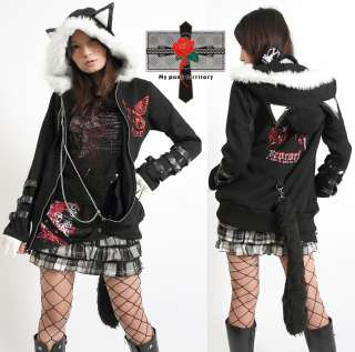 Japan Visual Kei Butterfly Hell MEOW Hoodie Tail Jacket