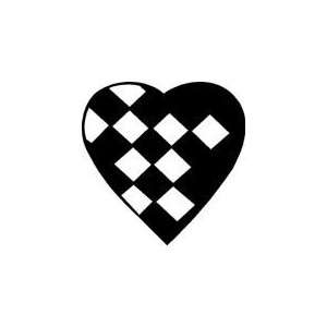 CHECKERED HEART   5 WHITE   Vinyl Decal Sticker Automotive