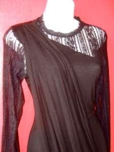RACHEL ROY black draped LACE & JERSEY KNIT PARTY dress DRAMATIC $188