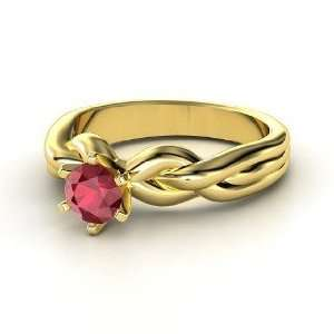 Eternal Braid Solitaire Ring, Round Ruby 14K Yellow Gold Ring Jewelry