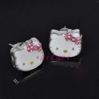 Kitty pink bow crystal earring earbob lovely xmas gift E29