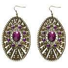 Purple Tear Drop Faceted Rhinestone Dangle Earrings