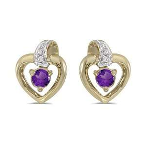Yellow Gold Round Amethyst and Diamond Heart Shaped Earrings Jewelry