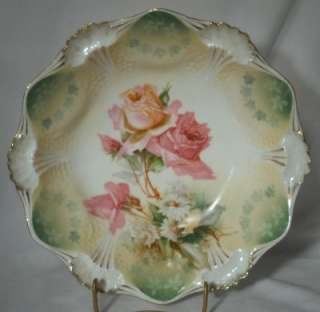 RS PRUSSIA china Red Mark 12 Lobe Floral ROSE Bowl