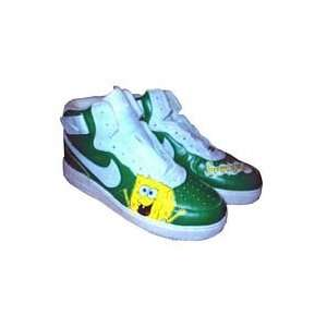 Painted Cartoon Nike Big Kids Air Force One Mid Top (White/Spongebob